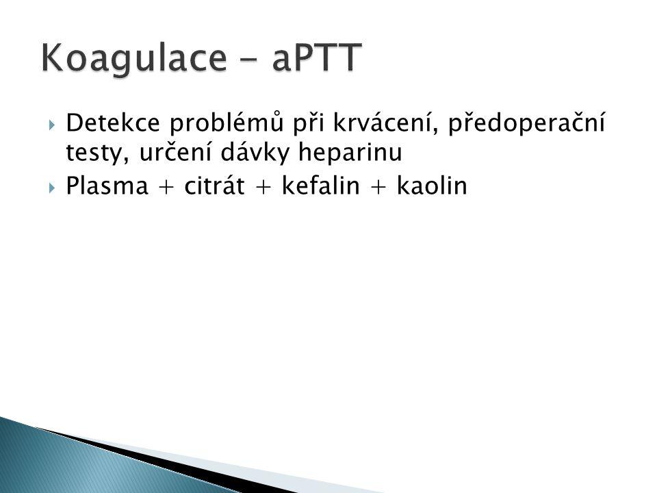  Detekce problémů při krvácení, předoperační testy, určení dávky heparinu  Plasma + citrát + kefalin + kaolin