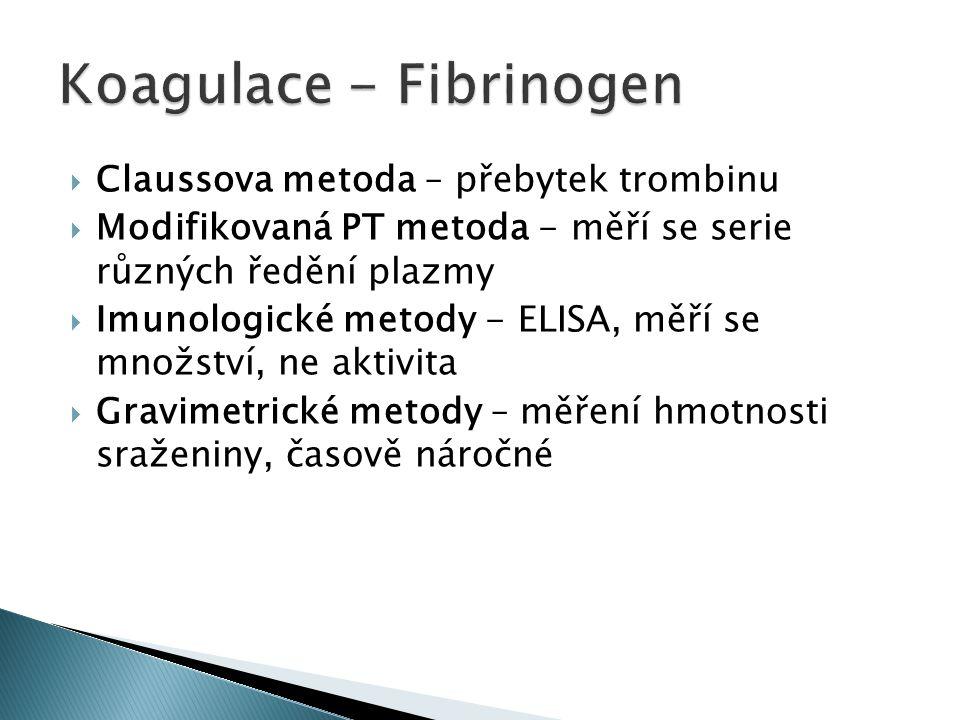  Claussova metoda – přebytek trombinu  Modifikovaná PT metoda - měří se serie různých ředění plazmy  Imunologické metody - ELISA, měří se množství, ne aktivita  Gravimetrické metody – měření hmotnosti sraženiny, časově náročné