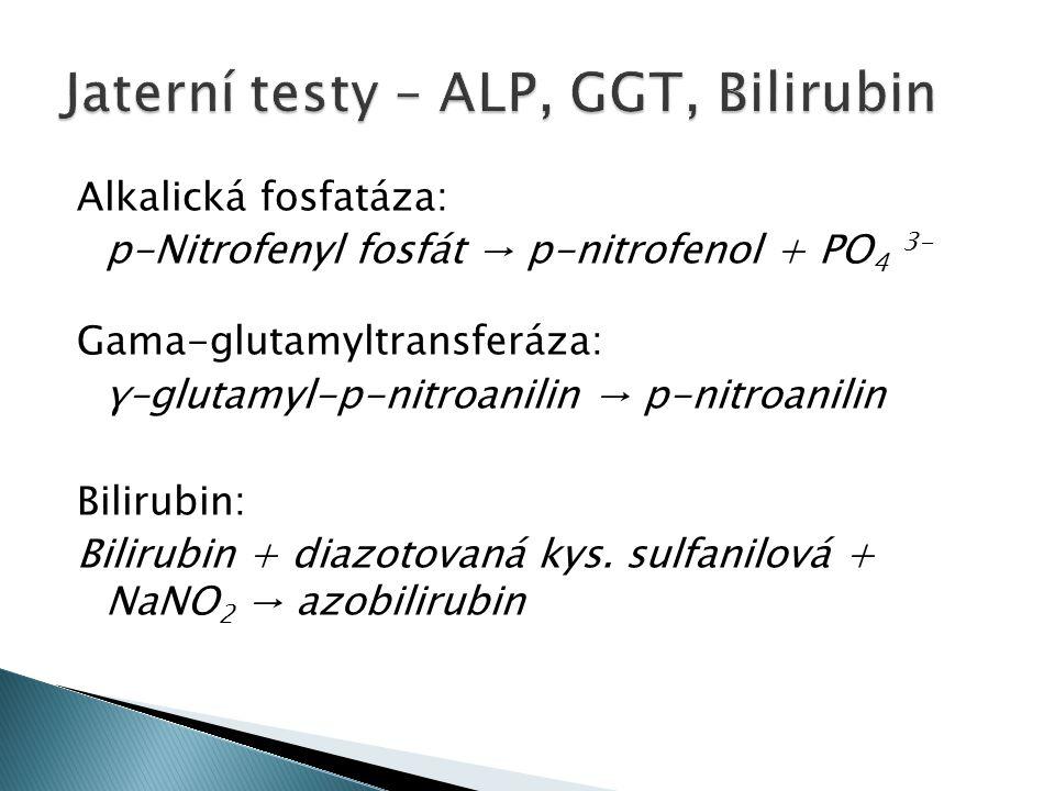 Alkalická fosfatáza: p-Nitrofenyl fosfát → p-nitrofenol + PO 4 3- Gama-glutamyltransferáza: γ–glutamyl-p-nitroanilin → p-nitroanilin Bilirubin: Bilirubin + diazotovaná kys.