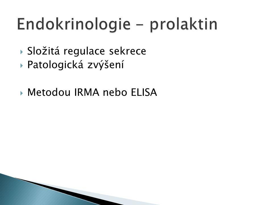  Složitá regulace sekrece  Patologická zvýšení  Metodou IRMA nebo ELISA