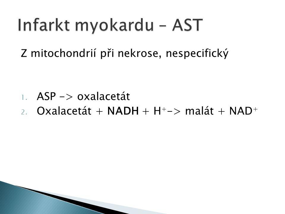 Z mitochondrií při nekrose, nespecifický 1.ASP -> oxalacetát 2.