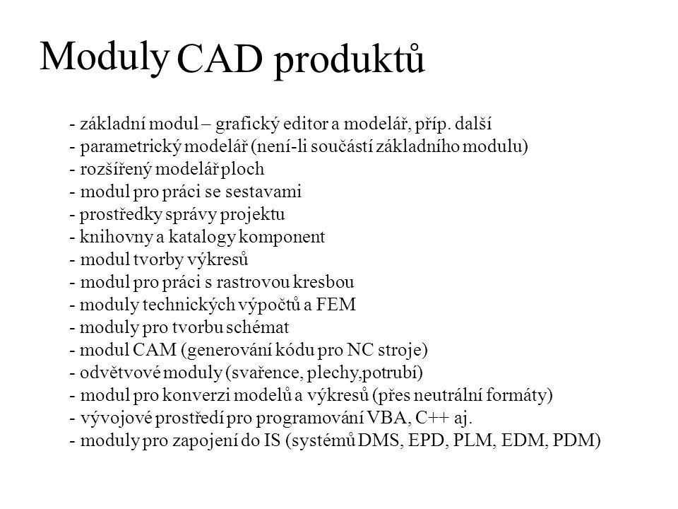Moduly CAD produktů - základní modul – grafický editor a modelář, příp. další - parametrický modelář (není-li součástí základního modulu) - rozšířený