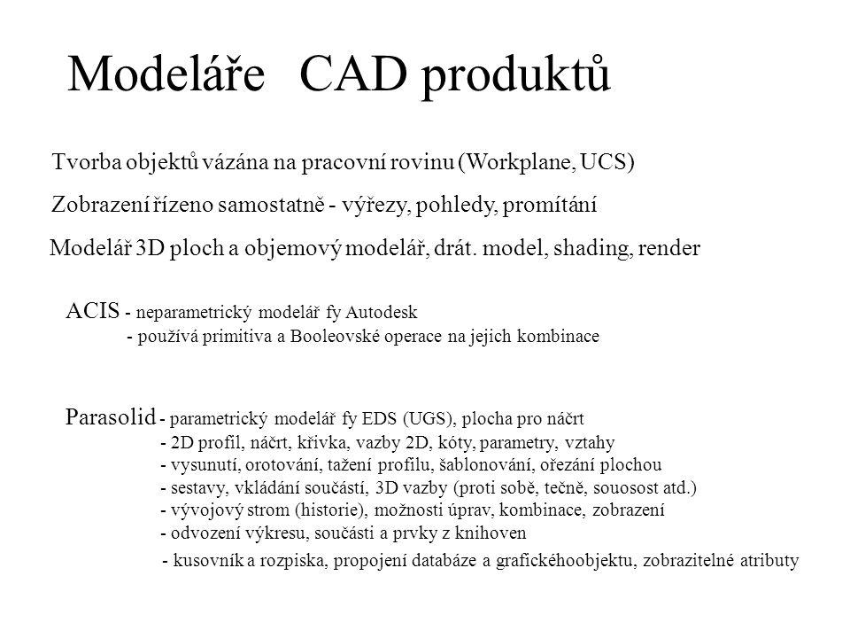 ModelářeCAD produktů ACIS - neparametrický modelář fy Autodesk - používá primitiva a Booleovské operace na jejich kombinace Tvorba objektů vázána na p