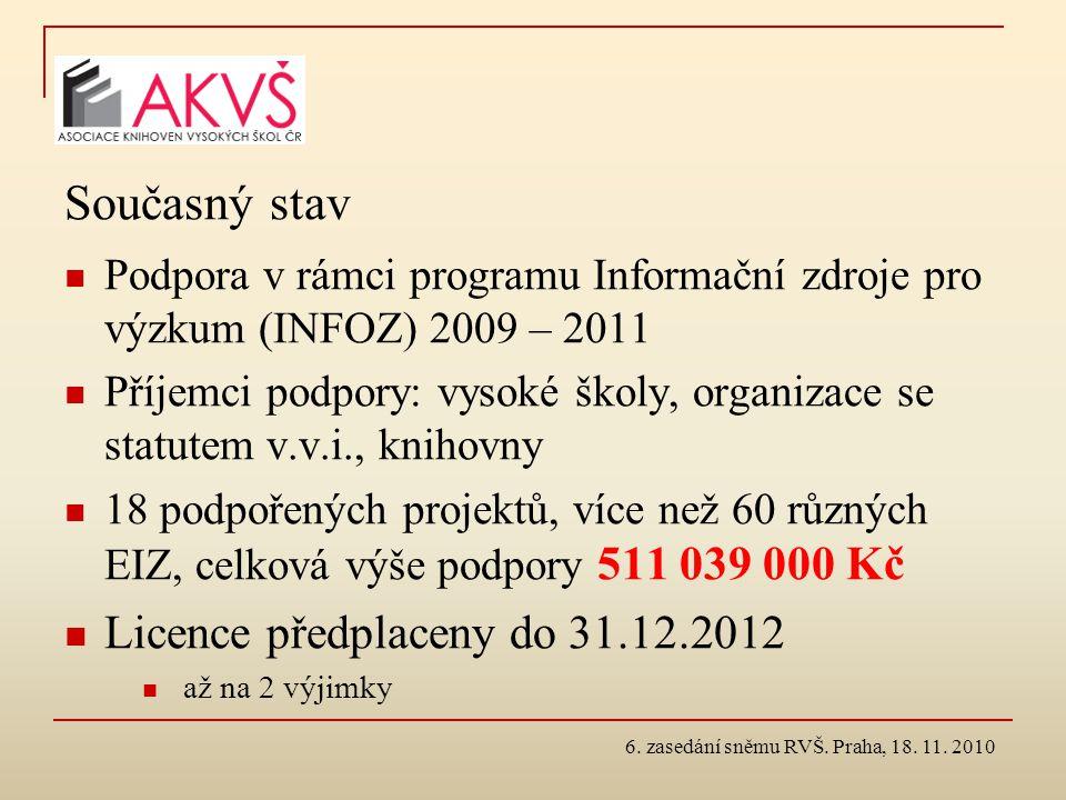 6. zasedání sněmu RVŠ. Praha, 18. 11. 2010 Současný stav Podpora v rámci programu Informační zdroje pro výzkum (INFOZ) 2009 – 2011 Příjemci podpory: v