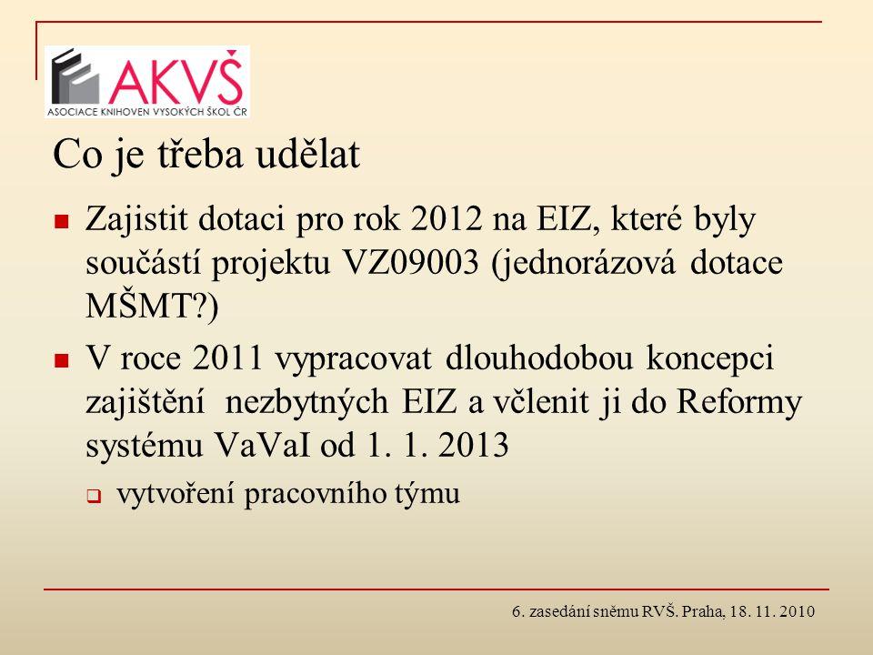 Co je třeba udělat Zajistit dotaci pro rok 2012 na EIZ, které byly součástí projektu VZ09003 (jednorázová dotace MŠMT?) V roce 2011 vypracovat dlouhod