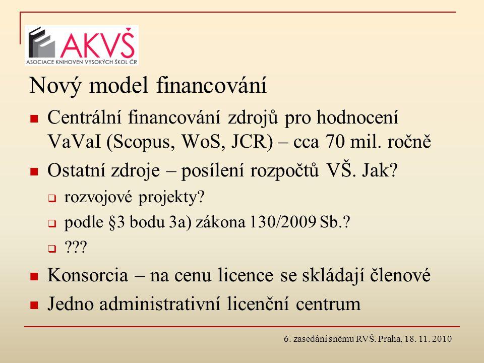 Nový model financování Centrální financování zdrojů pro hodnocení VaVaI (Scopus, WoS, JCR) – cca 70 mil. ročně Ostatní zdroje – posílení rozpočtů VŠ.