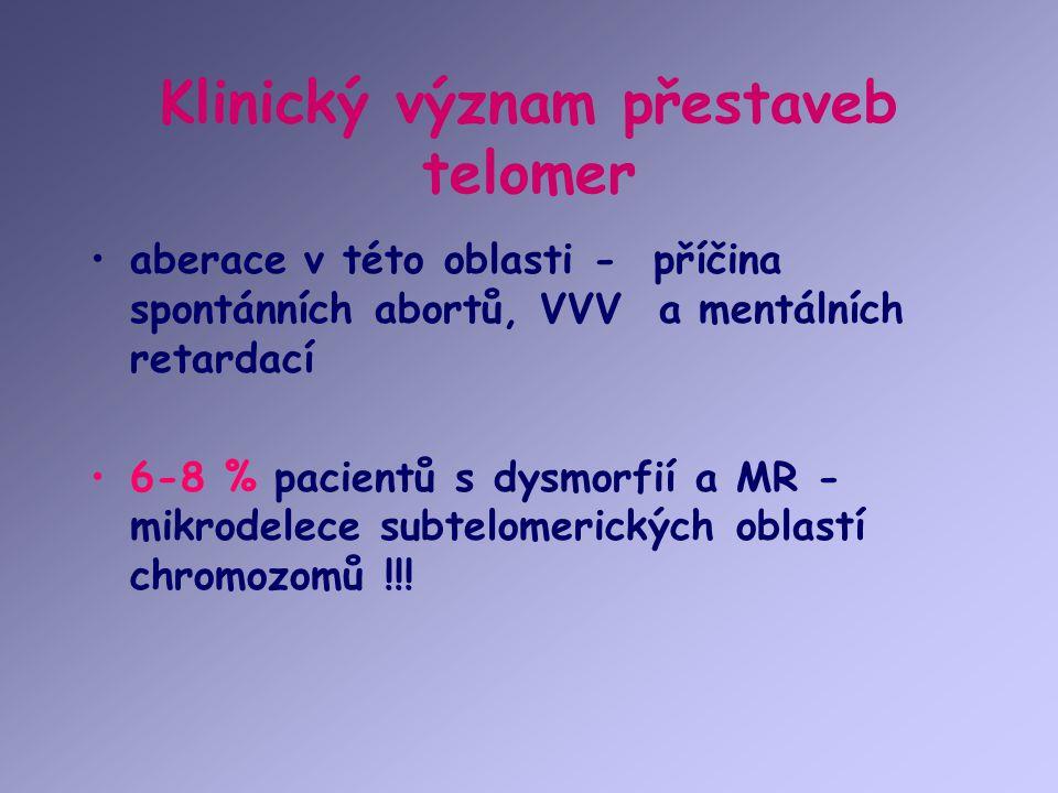 Klinický význam přestaveb telomer aberace v této oblasti - příčina spontánních abortů, VVV a mentálních retardací 6-8 % pacientů s dysmorfií a MR - mi