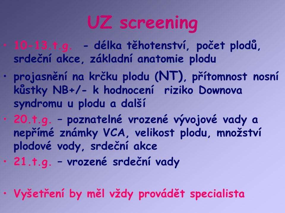 UZ screening 10-13.t.g. - délka těhotenství, počet plodů, srdeční akce, základní anatomie plodu projasnění na krčku plodu ( NT), přítomnost nosní kůst