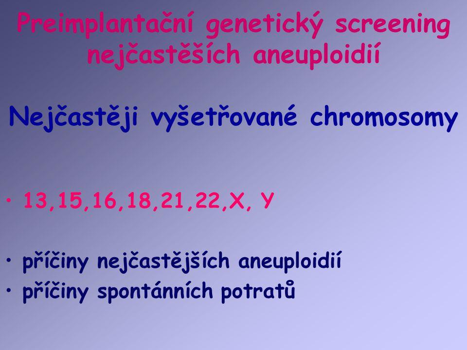 Preimplantační genetický screening nejčastěších aneuploidií Nejčastěji vyšetřované chromosomy 13,15,16,18,21,22,X, Y příčiny nejčastějších aneuploidií