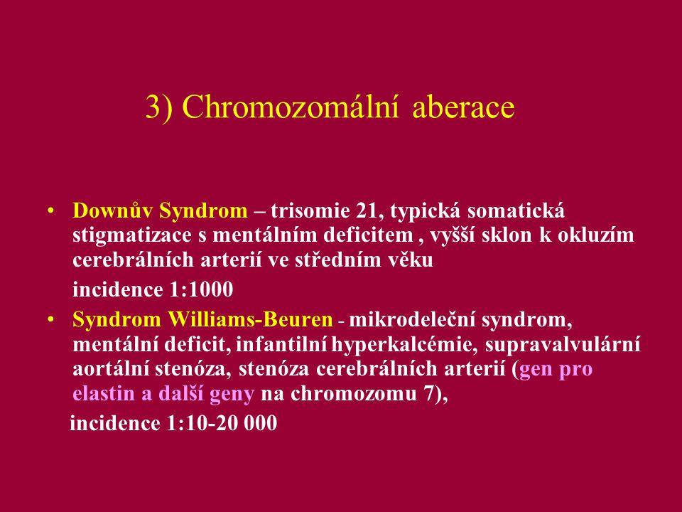 4) Komplexní multifaktoriální onemocnění s rizikem CMP Ateroskleróza: –familiární hypercholesterolémie - mutace genů pro apolipoprotein B a LDL receptor (FN Ostrava), typický familiární výskyt kardiovaskulárních onemocnění (CMP, angína pectoris), vhodné vyšetřit: celkový cholesterol, HDL, LDL, TAG, ApoA1, ApoB v séru; kritéria pro genetické vyš.: celk.