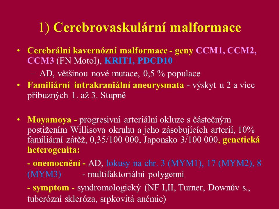 2a) Další monogenně dědičná systémová onemocnění s častým výskytem ischemických nebo hemoragických změn v CNS Autozomálně dominantně dědičné polycystické ledviny - PKD1, PKD2 (linkage analýza, Biolog.
