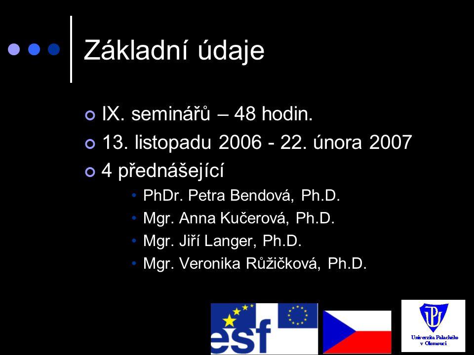 Základní údaje IX. seminářů – 48 hodin. 13. listopadu 2006 - 22. února 2007 4 přednášející PhDr. Petra Bendová, Ph.D. Mgr. Anna Kučerová, Ph.D. Mgr. J