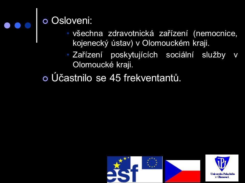 Osloveni: všechna zdravotnická zařízení (nemocnice, kojenecký ústav) v Olomouckém kraji. Zařízení poskytujících sociální služby v Olomoucké kraji. Úča