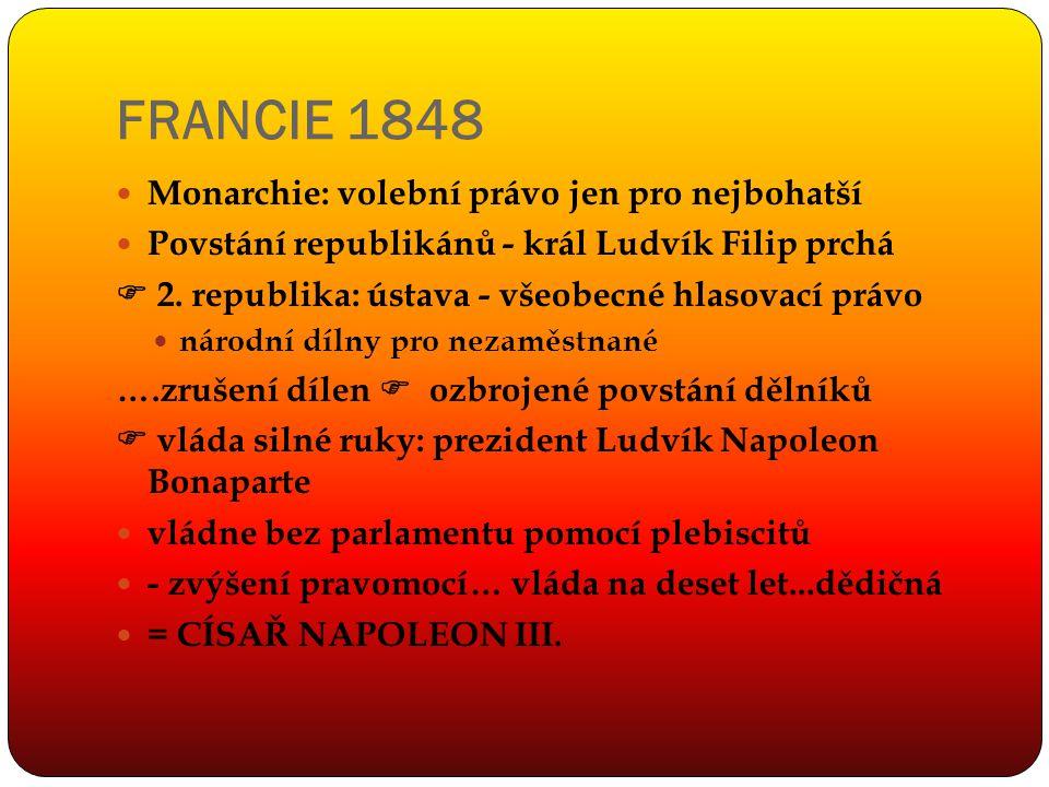FRANCIE 1848 Monarchie: volební právo jen pro nejbohatší Povstání republikánů - král Ludvík Filip prchá  2. republika: ústava - všeobecné hlasovací p