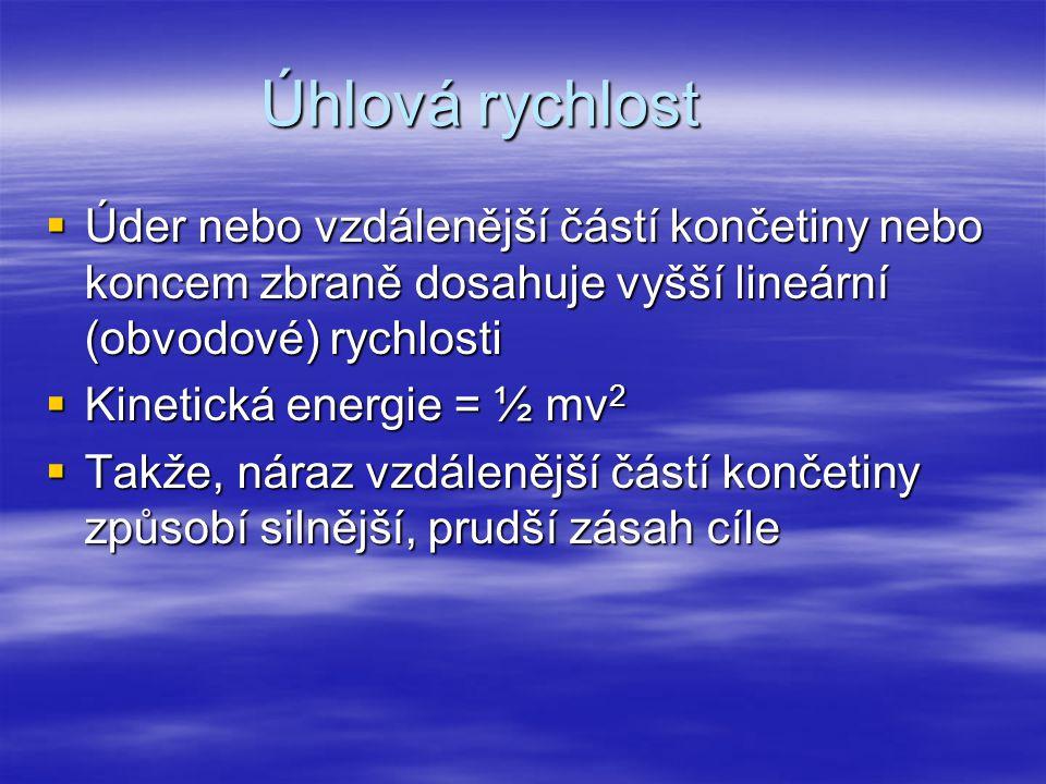 Úhlová rychlost  Úder nebo vzdálenější částí končetiny nebo koncem zbraně dosahuje vyšší lineární (obvodové) rychlosti  Kinetická energie = ½ mv 2 