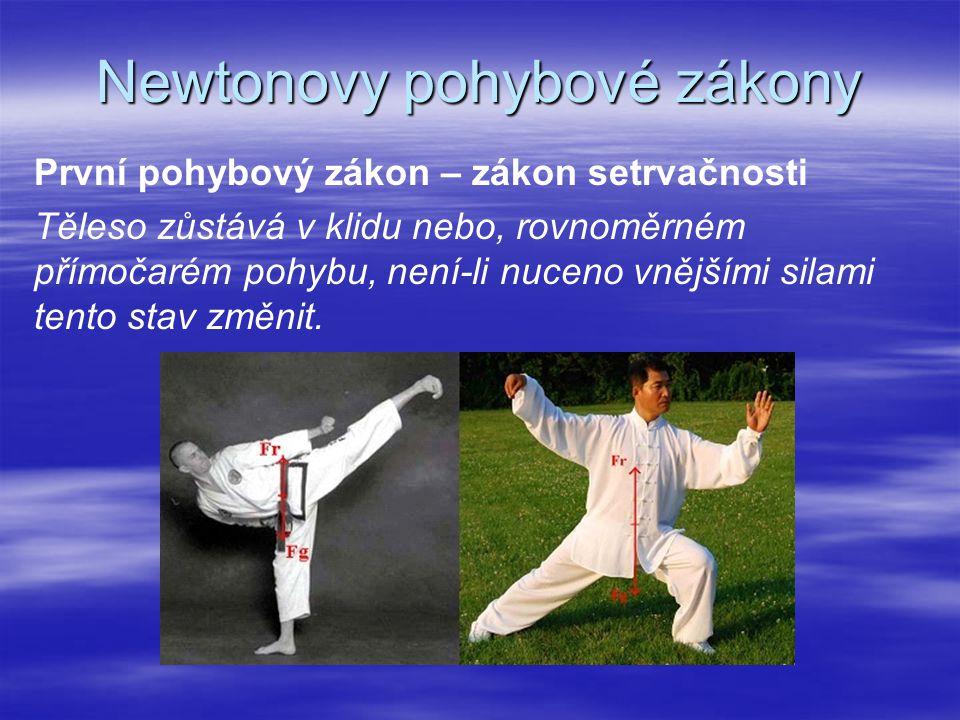 Newtonovy pohybové zákony První pohybový zákon – zákon setrvačnosti Těleso zůstává v klidu nebo, rovnoměrném přímočarém pohybu, není-li nuceno vnějším