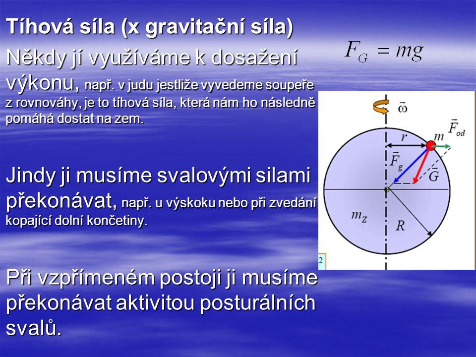 Tíhová síla (x gravitační síla) Někdy jí využíváme k dosažení výkonu, např. v judu jestliže vyvedeme soupeře z rovnováhy, je to tíhová síla, která nám