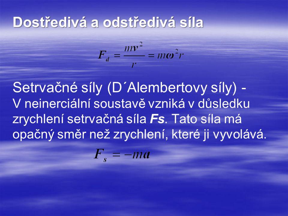 Setrvačné síly (D´Alembertovy síly) - V neinerciální soustavě vzniká v důsledku zrychlení setrvačná síla Fs. Tato síla má opačný směr než zrychlení, k