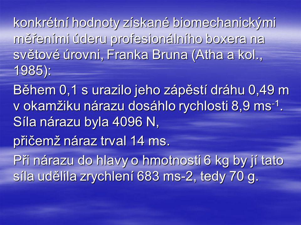 konkrétní hodnoty získané biomechanickými měřeními úderu profesionálního boxera na světové úrovni, Franka Bruna (Atha a kol., 1985): Během 0,1 s urazi