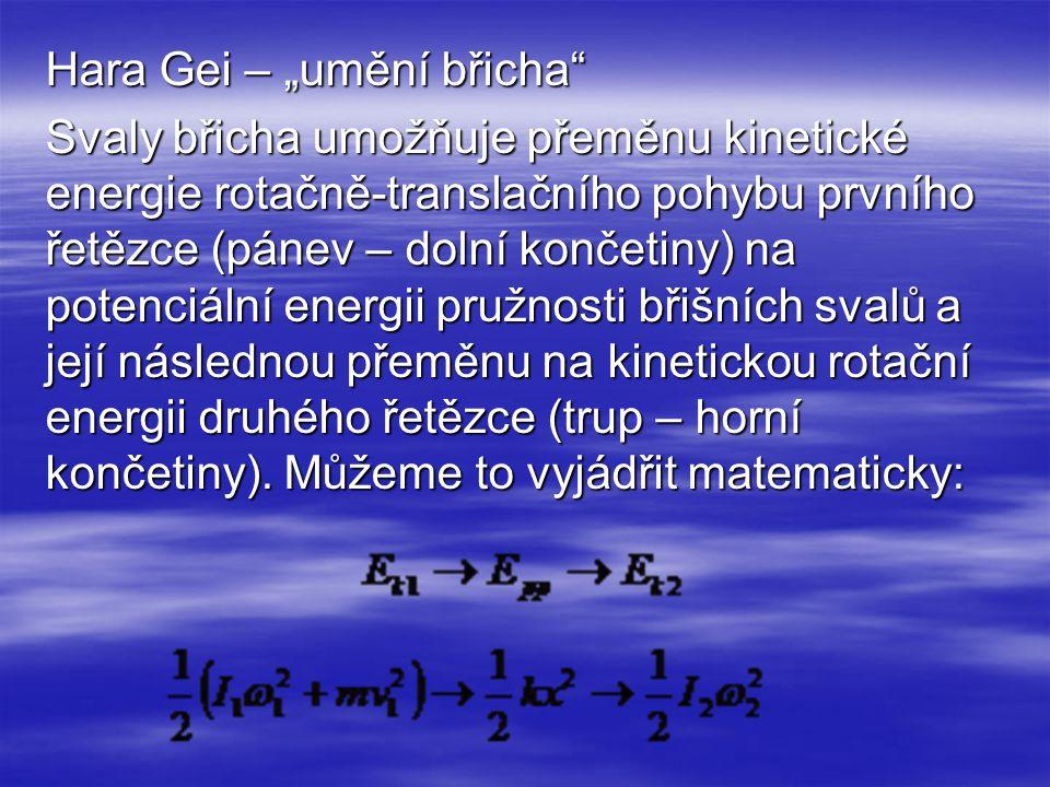 """Hara Gei – """"umění břicha"""" Svaly břicha umožňuje přeměnu kinetické energie rotačně-translačního pohybu prvního řetězce (pánev – dolní končetiny) na pot"""