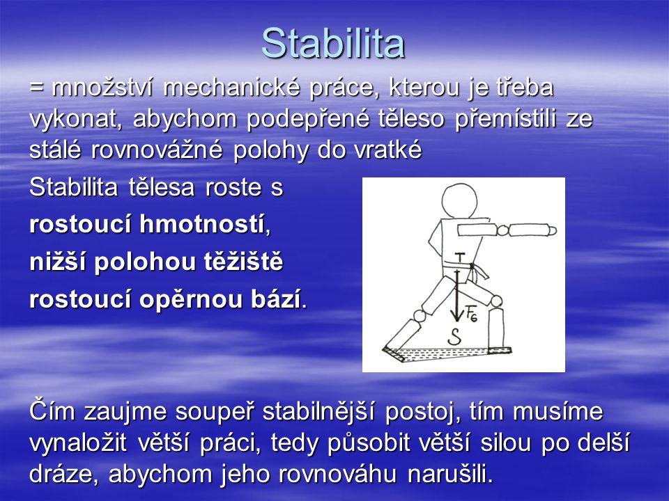 Stabilita = množství mechanické práce, kterou je třeba vykonat, abychom podepřené těleso přemístili ze stálé rovnovážné polohy do vratké Stabilita těl