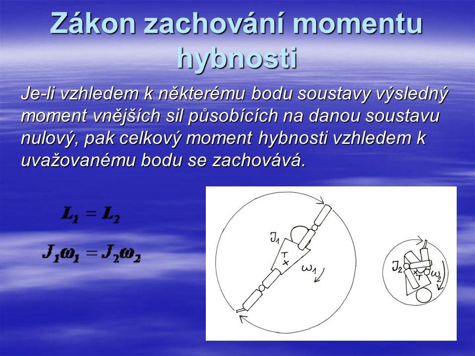 Zákon zachování momentu hybnosti Je-li vzhledem k některému bodu soustavy výsledný moment vnějších sil působících na danou soustavu nulový, pak celkov