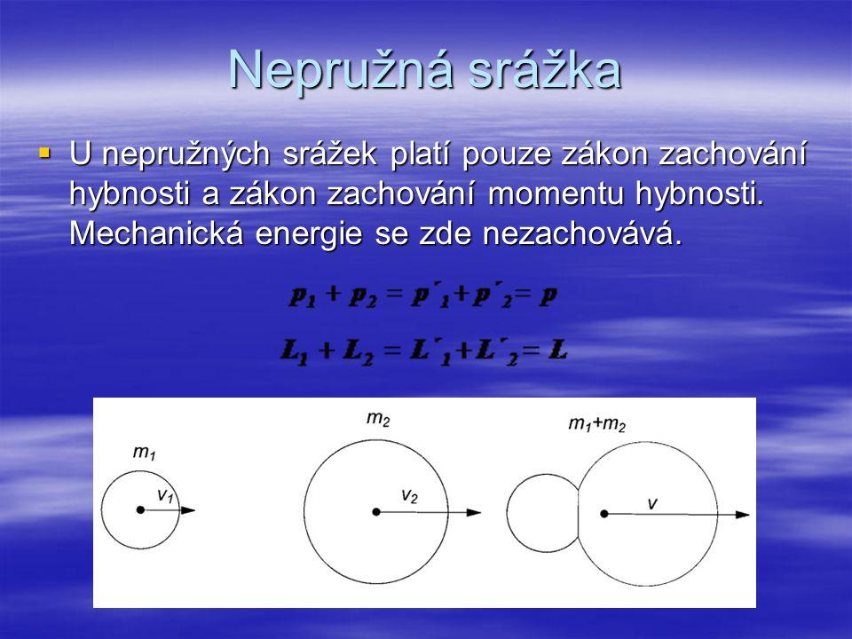 Nepružná srážka  U nepružných srážek platí pouze zákon zachování hybnosti a zákon zachování momentu hybnosti. Mechanická energie se zde nezachovává.