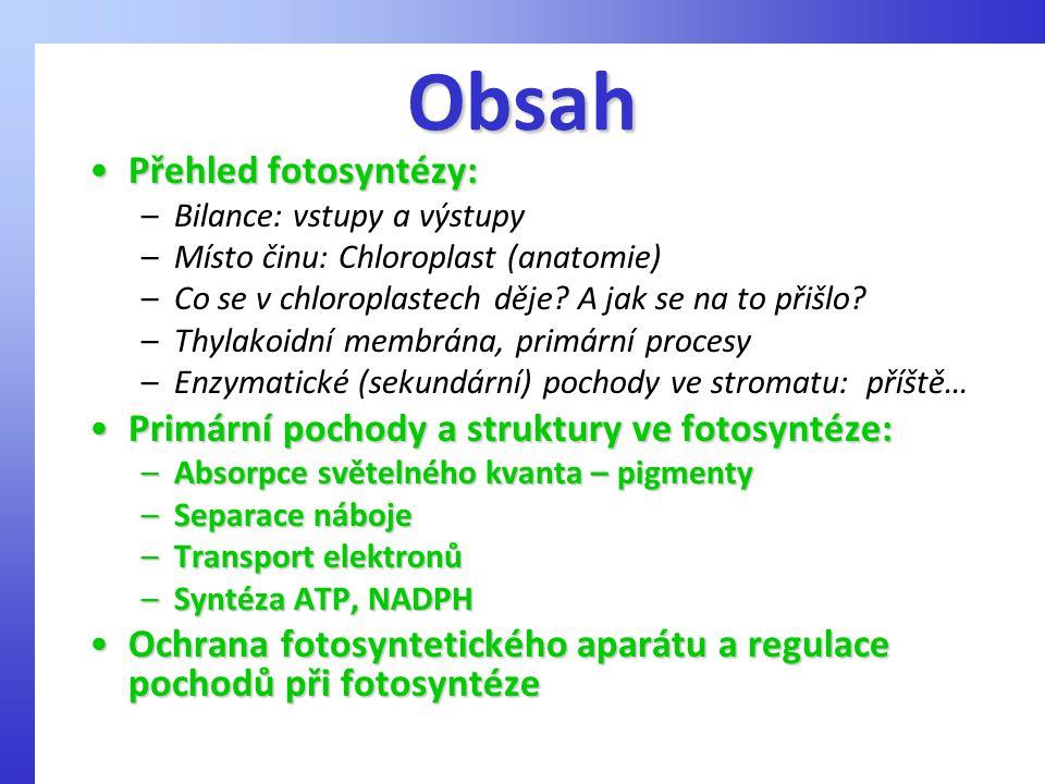 Obsah Přehled fotosyntézy:Přehled fotosyntézy: –Bilance: vstupy a výstupy –Místo činu: Chloroplast (anatomie) –Co se v chloroplastech děje? A jak se n