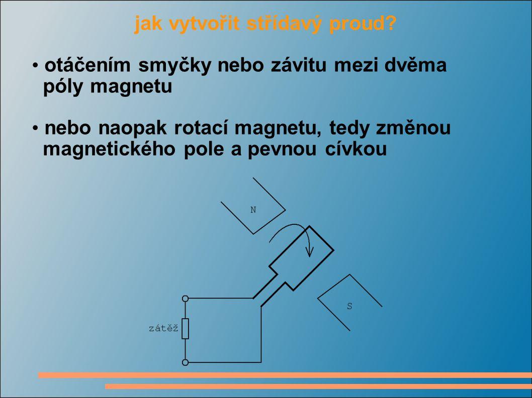jak vytvořit střídavý proud? otáčením smyčky nebo závitu mezi dvěma póly magnetu nebo naopak rotací magnetu, tedy změnou magnetického pole a pevnou cí