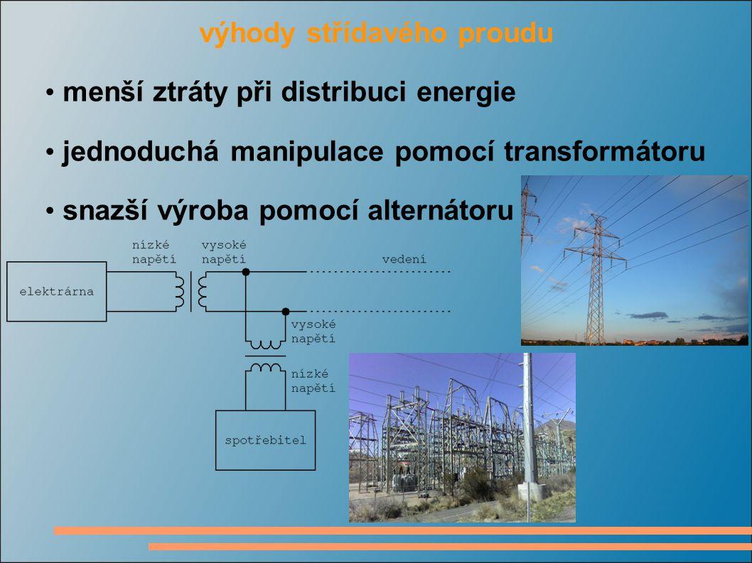 výhody střídavého proudu menší ztráty při distribuci energie jednoduchá manipulace pomocí transformátoru snazší výroba pomocí alternátoru