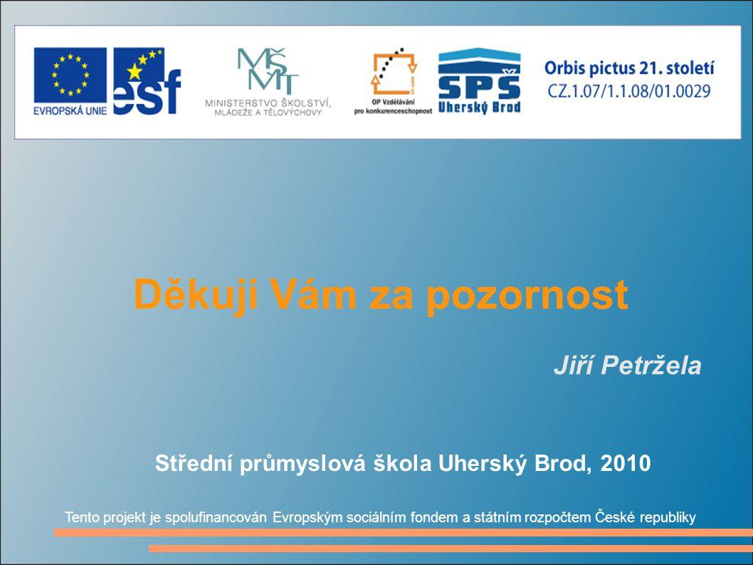 Děkuji Vám za pozornost Jiří Petržela Tento projekt je spolufinancován Evropským sociálním fondem a státním rozpočtem České republiky Střední průmyslo