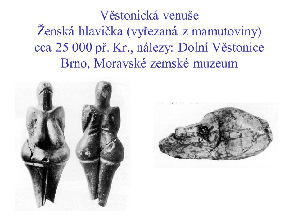 Věstonická venuše Ženská hlavička (vyřezaná z mamutoviny) cca 25 000 př. Kr., nálezy: Dolní Věstonice Brno, Moravské zemské muzeum