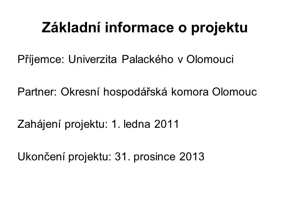 Základní informace o projektu Příjemce: Univerzita Palackého v Olomouci Partner: Okresní hospodářská komora Olomouc Zahájení projektu: 1. ledna 2011 U