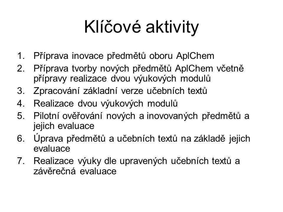 Klíčové aktivity 1.Příprava inovace předmětů oboru AplChem 2.Příprava tvorby nových předmětů AplChem včetně přípravy realizace dvou výukových modulů 3