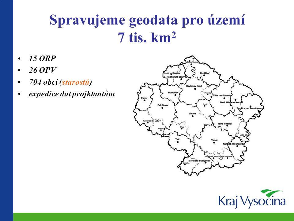 Spravujeme geodata pro území 7 tis. km 2 15 ORP 26 OPV 704 obcí (starostů) expedice dat projktantům