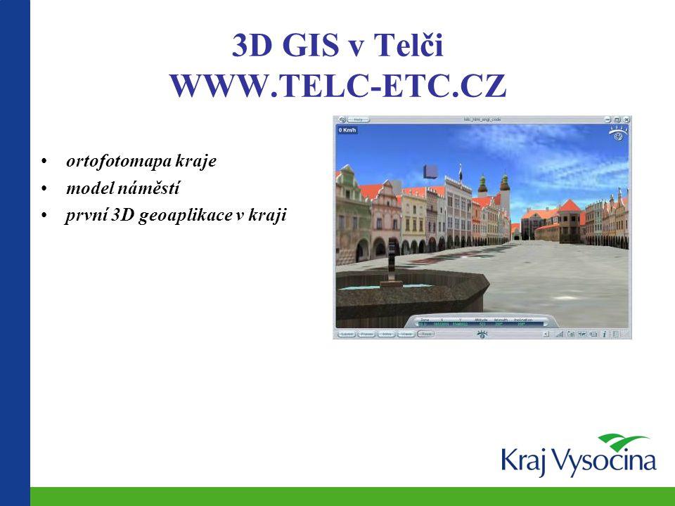 3D GIS v Telči WWW.TELC-ETC.CZ ortofotomapa kraje model náměstí první 3D geoaplikace v kraji