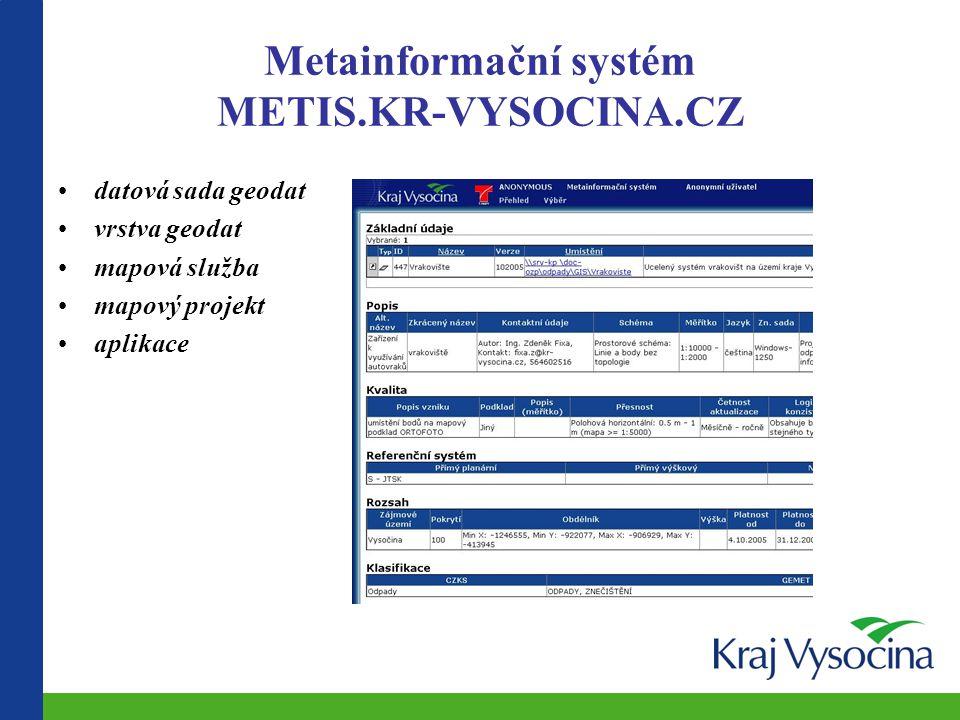 Metainformační systém METIS.KR-VYSOCINA.CZ datová sada geodat vrstva geodat mapová služba mapový projekt aplikace