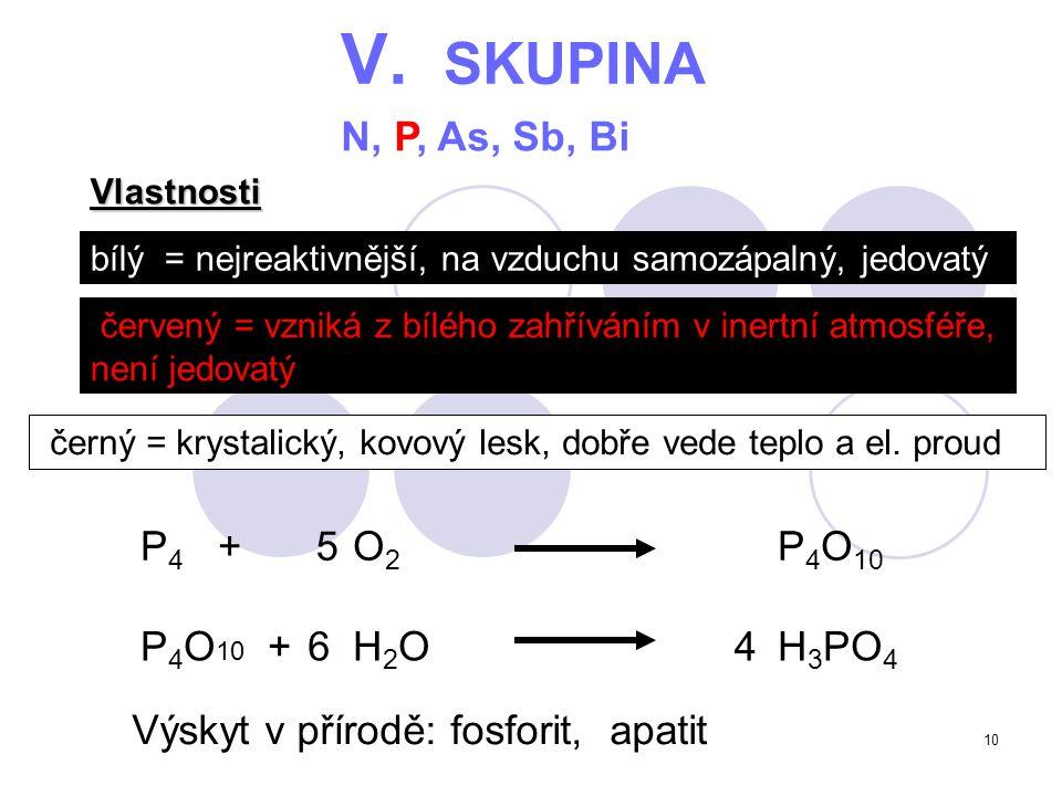 10 P 4 O 10 + H 2 OH 3 PO 4 V. SKUPINA N, P, As, Sb, Bi bílý = nejreaktivnější, na vzduchu samozápalný, jedovatý červený = vzniká z bílého zahříváním