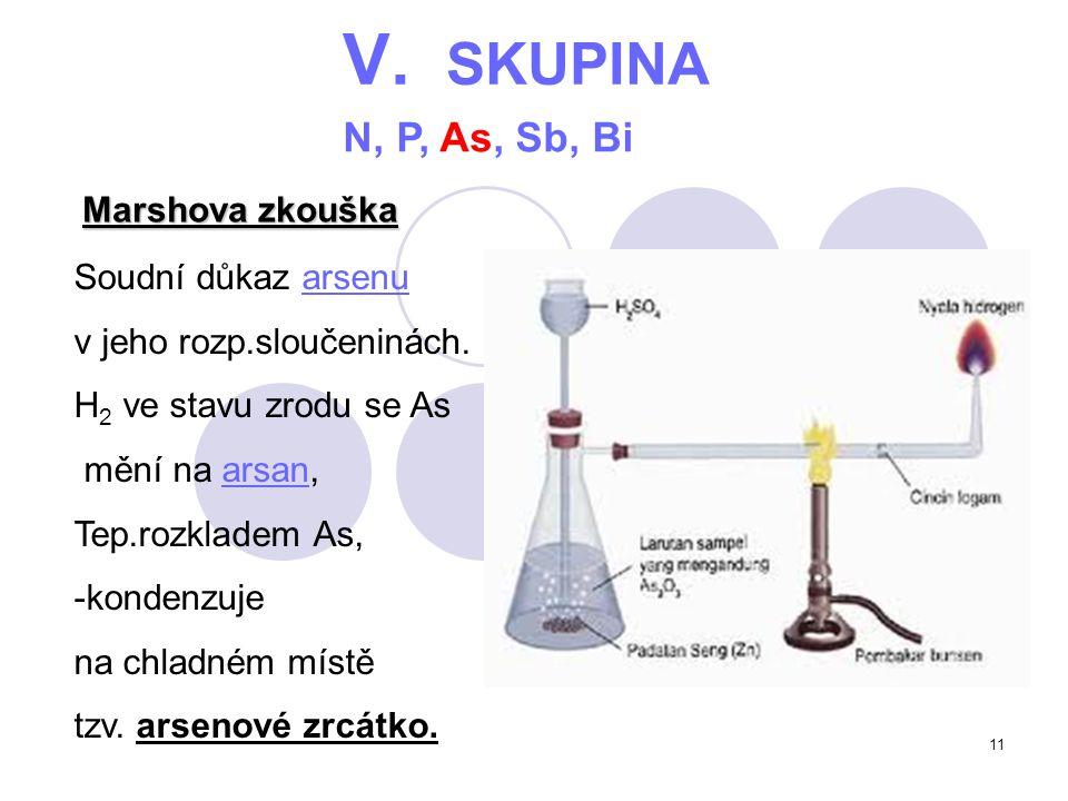 11 V. SKUPINA N, P, As, Sb, Bi Marshova zkouška Soudní důkaz arsenuarsenu v jeho rozp.sloučeninách. H 2 ve stavu zrodu se As mění na arsan,arsan Tep.r