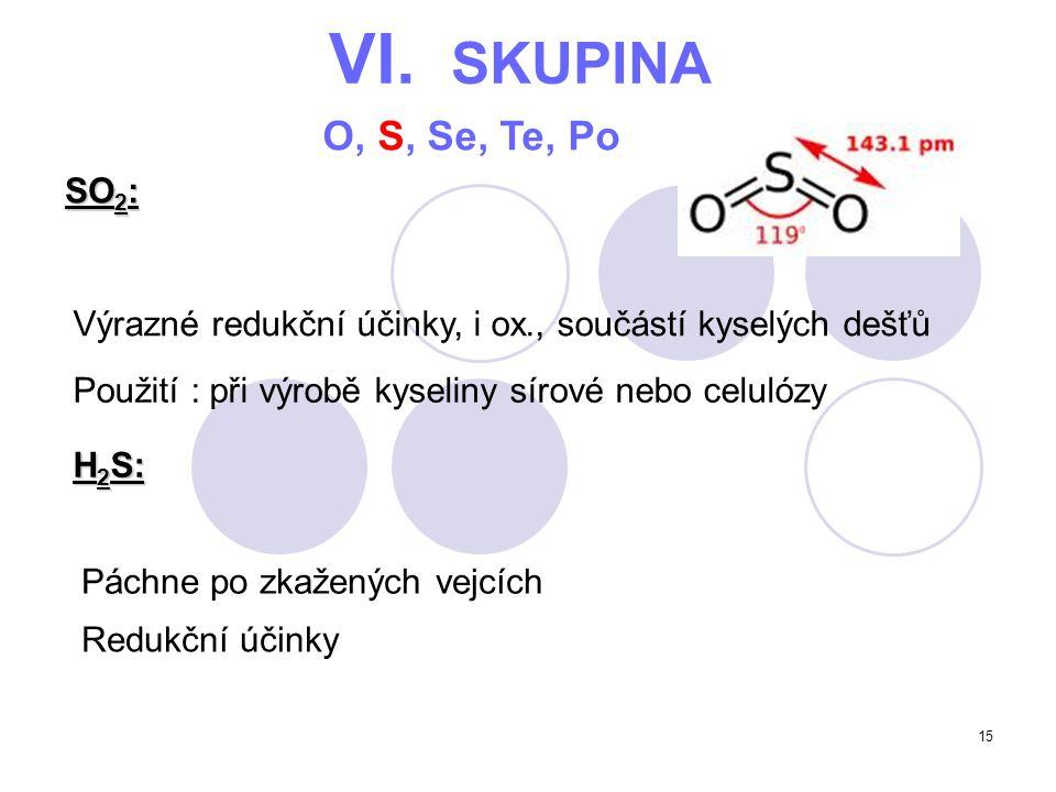 15 VI. SKUPINA O, S, Se, Te, Po SO 2 : Výrazné redukční účinky, i ox., součástí kyselých dešťů H 2 S: Použití : při výrobě kyseliny sírové nebo celuló