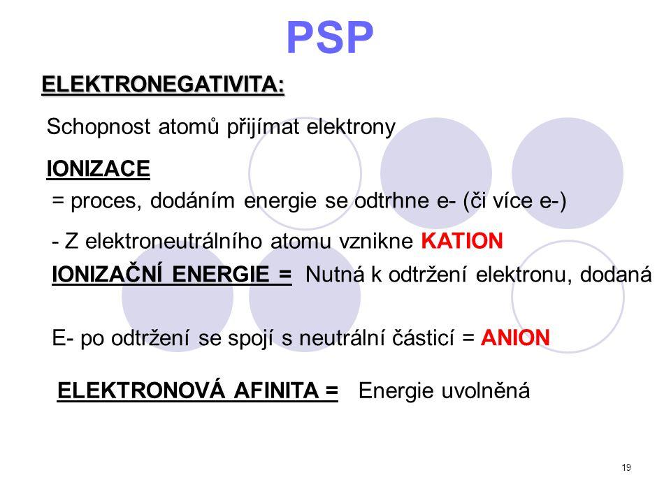19 PSP ELEKTRONEGATIVITA: Schopnost atomů přijímat elektrony = proces, dodáním energie se odtrhne e- (či více e-) - Z elektroneutrálního atomu vznikne