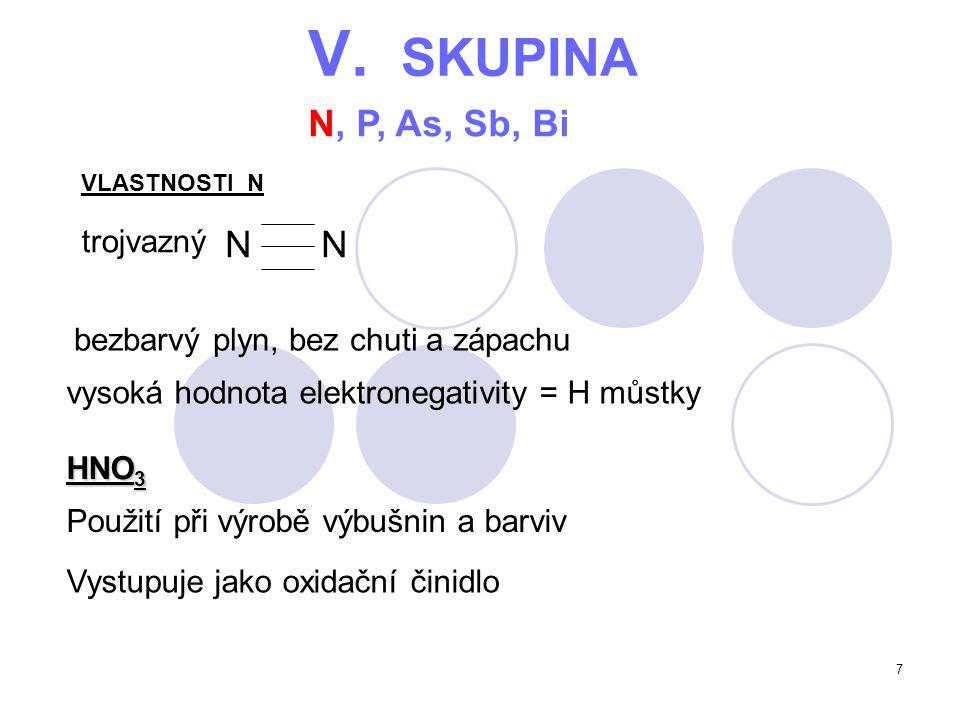 7 V. SKUPINA N, P, As, Sb, Bi trojvazný bezbarvý plyn, bez chuti a zápachu HNO 3 VLASTNOSTI N N vysoká hodnota elektronegativity = H můstky Použití př