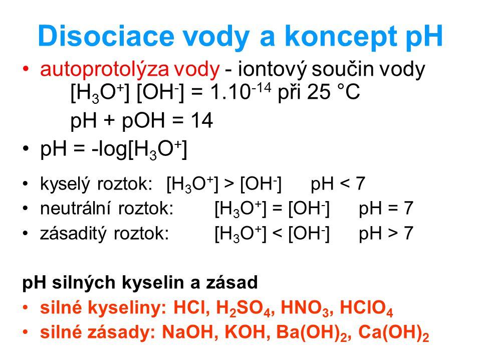 Disociace vody a koncept pH autoprotolýza vody - iontový součin vody [H 3 O + ] [OH - ] = 1.10 -14 při 25 °C pH + pOH = 14 pH = -log[H 3 O + ] kyselý
