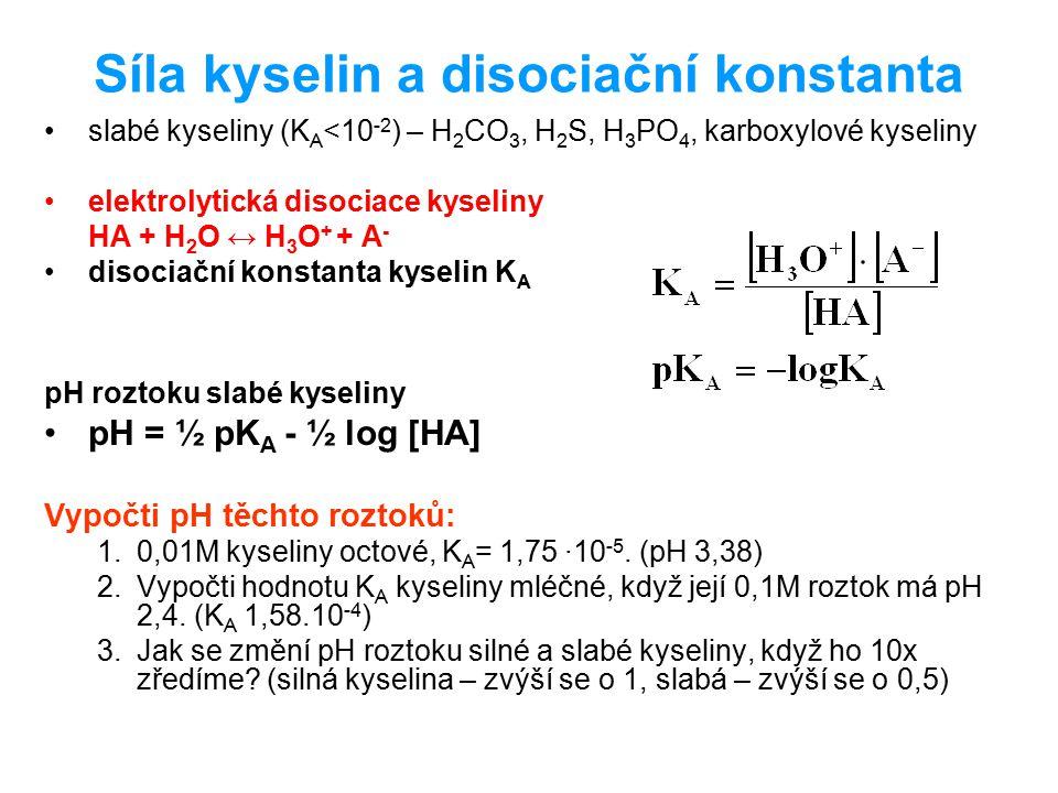 Síla kyselin Konjugovaný párKAKA pK A α, [%] HClO 4 ClO 4 - 95 HNO 3 NO 3 - 90-95 HClCl - 90-95 H 2 SO 4 HSO 4 - 60 H 3 PO 4 H 2 PO 4 - 7,5.10 -3 2,1212 HFF-F- 6,6.10 -4 3,1810 CH 3 COOHCH 3 COO - 1,75.10 -5 4,761,3 H 2 CO 3 HCO 3 - 4,47.10 -7 6,350,12 H2SH2SHS - 1,07.10 -7 6,97 H 2 PO 4 2- HPO 4 - 6,20.10 -8 7,21 HCNCN - 6,17.10 -10 9,210,07 HCO 3 - CO 3 2- 4,68.10 -11 10,33 HPO 4 2- PO 4 3- 4,27.10 -13 12,37 síla kyseliny síla konjugované báze