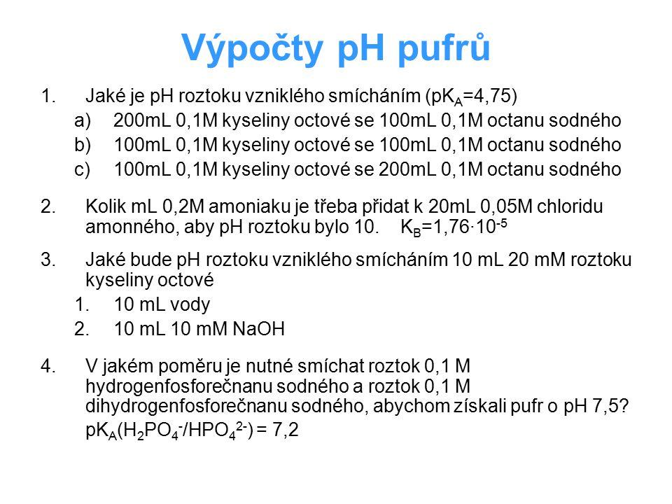 Výsledky: 1.Jaké je pH roztoku vzniklého smícháním (pK A =4,75) a)200mL 0,1M kyseliny octové se 100mL 0,1M octanu sodného (4,45) b)100mL 0,1M kyseliny octové se 100mL 0,1M octanu sodného (4,75) c)100mL 0,1M kyseliny octové se 200mL 0,1M octanu sodného (5,05) 2.Kolik mL 0,2M amoniaku je třeba přidat k 20mL 0,05M chloridu amonného, aby pH roztoku bylo 10.