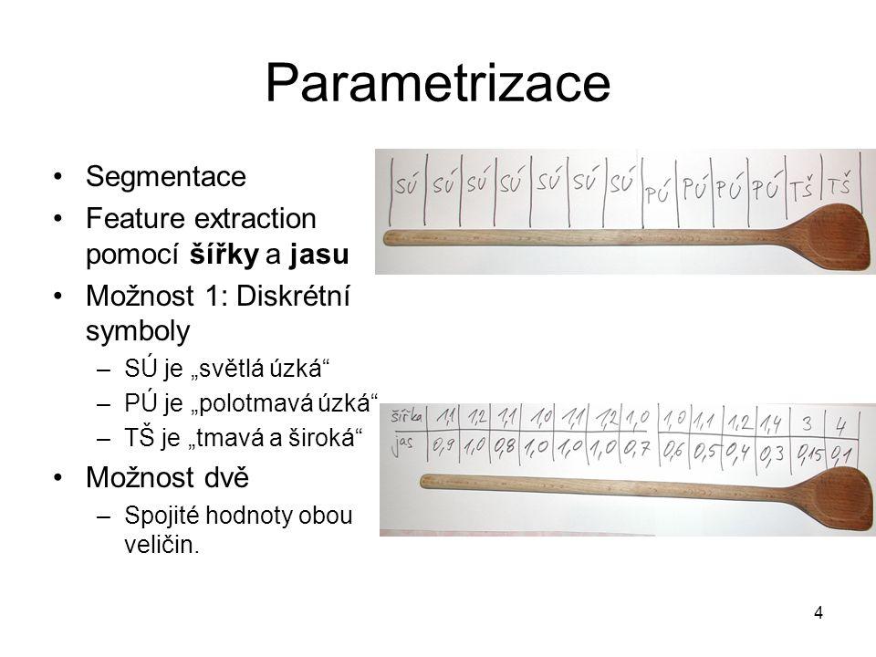 """4 Parametrizace Segmentace Feature extraction pomocí šířky a jasu Možnost 1: Diskrétní symboly –SÚ je """"světlá úzká –PÚ je """"polotmavá úzká –TŠ je """"tmavá a široká Možnost dvě –Spojité hodnoty obou veličin."""