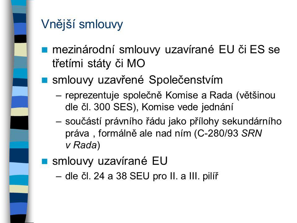 Vnější smlouvy mezinárodní smlouvy uzavírané EU či ES se třetími státy či MO smlouvy uzavřené Společenstvím –reprezentuje společně Komise a Rada (větš