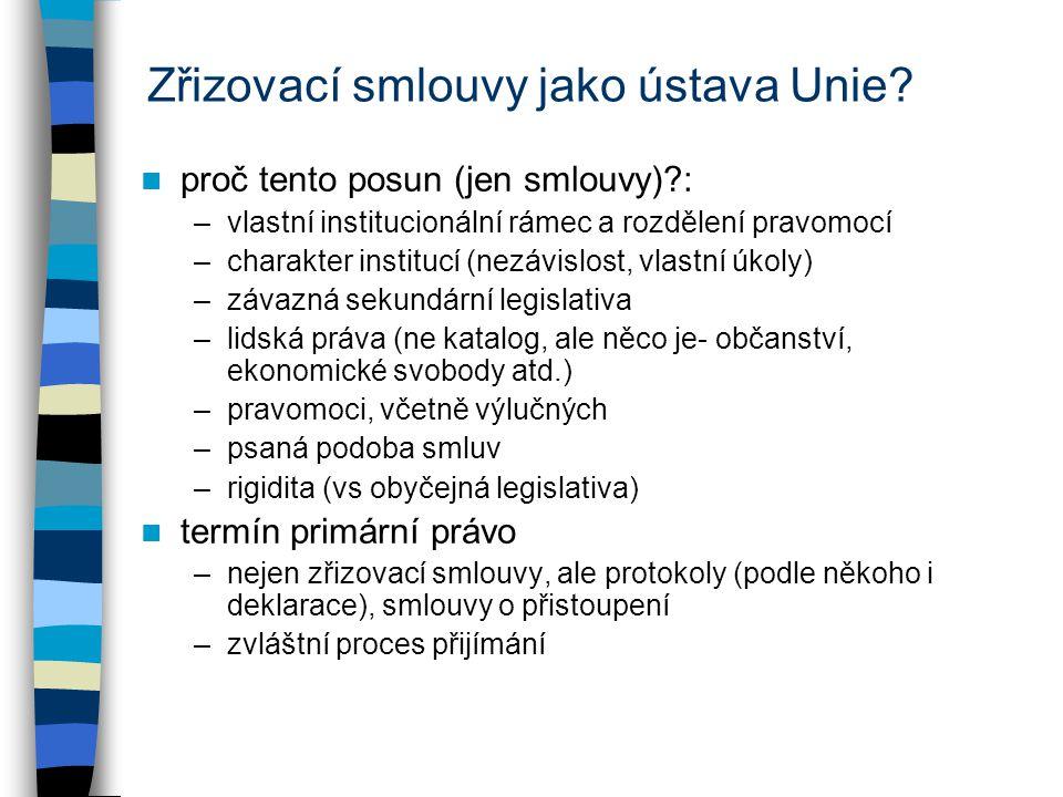 Sekundární právo vydáváno množství legislativních předpisů kdo vydává: –1) Rada s Parlamentem, 2) Rada, 3) Komise základem pro různé akty čl.