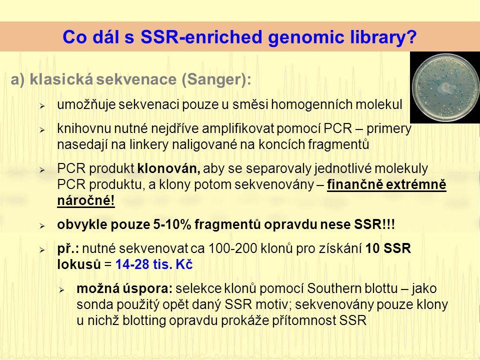 a)klasická sekvenace (Sanger):  umožňuje sekvenaci pouze u směsi homogenních molekul  knihovnu nutné nejdříve amplifikovat pomocí PCR – primery nasedají na linkery naligované na koncích fragmentů  PCR produkt klonován, aby se separovaly jednotlivé molekuly PCR produktu, a klony potom sekvenovány – finančně extrémně náročné.