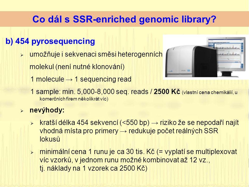 b)454 pyrosequencing  umožňuje i sekvenaci směsi heterogenních molekul (není nutné klonování) 1 molecule → 1 sequencing read 1 sample: min.